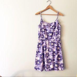 LOFT Purple Floral Ruffle Sundress